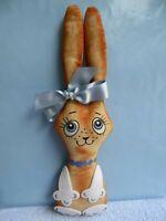 """Handmade Souvenir BUNNY cloth doll 10"""", stuffed, painted face. New."""