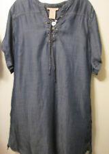 $88 Philosophy Tencel Blue Dark Wash Lace Up Denim Lk Shirt Dress Tunic Top XXL