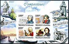 BURUNDI 2011 MNH Imperf SS, Music, Mozart, Beethoven, Chopin, Vivaldi