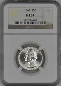 1962 Silver Washington Quarter 25C NGC MS 67 White