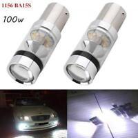 2X 100W 1156 BA15S Car White Globe LED Brake Reverse TurnStop Tail light Bulbs