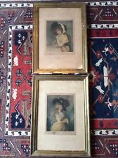 Pair of antique coloured prints by Verlag  Lebels after Romney and Gainsborough
