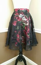 NWT Modcloth Skirt S Black Sheer Overlay w Red Roses Satin Floral Retro A-Line