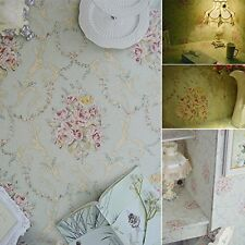 Vintage Light green / Pink Flower Wallpaper Roll decor Paper Peel Stick Vinyl.