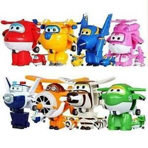 8Pcs/Set Super Wings Transforming Plane Toy Robot Korea TV Animation Character//