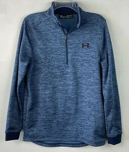 UNDER ARMOUR Cold Gear Sz S Mens LOOSE Pullover Jacket /4 ZIP Blue Heather EUC