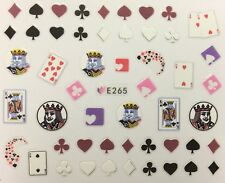 Nail Art 3D Decal Stickers Poker King Cards Spades Suites Hearts Diamonds E265