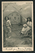 Posted 1905 Studio Card: Two Children Playing With A Cart