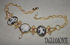 TAGLIAMONTE(550/716)*4Column Necklace*YGP925*3Porcelain Cameos*Rubies+Pearls+MOP