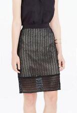 Skirt Ann Taylor Diamond lace crochet 16 XXL Black Solid New peek a boo hem $89