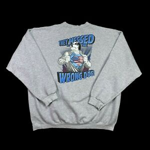 Vintage 2001 Big Dogs They Messed With The Wrong Dog Crewneck Gray Mens Size XL