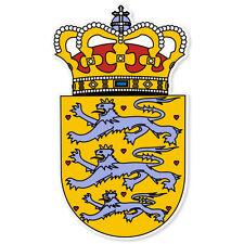 "DENMARK Coat of Arms bumper sticker decal 3"" x 5"""