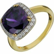 Amethyst Purple Ring, Gold Plated, Silver, Cubic Zirconia Women's Ring Size N