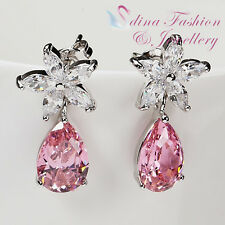 18K White Gold Plated AAA Grade CZ Exquisite Baby Pink Flower Teardrop Earrings