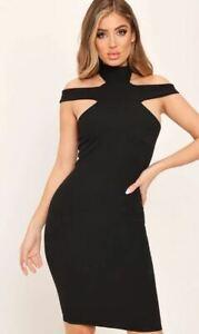 I SAW IT FIRST Cut Out Shoulder High Neck Mini Dress Black  (fj294)