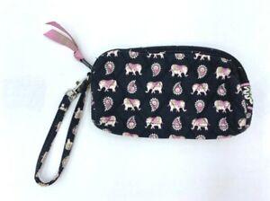 Vera Bradley Pink Elephants Zipper Wristlet Clutch Pouch Black Paisley