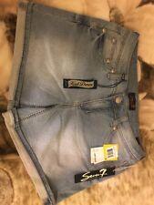$49 New Women's Seven 7 Knit Denim Light Blue Cut Off SUmmer Short Shorts Size 8