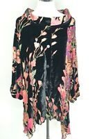 Smooth Silk Blend Black Floral Designer Button Down Blouse Shirt Plus Free Size