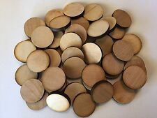 """50 Unfinished Laser Cut 1 1/4"""" Round Wood Circles"""