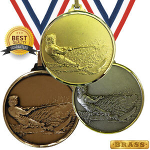 WATER SKIING BRASS MEDAL 52mm BEST QUALITY, FREE RIBBON, 3 COLOURS,