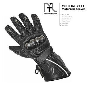 Motorbike Motorcycle Thermal Leather Gloves Winter Summer Knuckle Protection UK