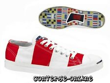 Mens Women CONVERSE JACK PURCELL Red White SAILCLOTH OX Trainers Shoes SIZE UK 7