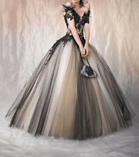 Black Ball Gown Formal Evening Gown V neck Long Prom Party Dress Wedding Gown