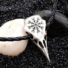 Odin's Raven Skull Pendant Necklace Helm of Awe Viking Norse Heathen Jewelry