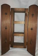 Solid Wood wall mount cabinet with hanging pegs