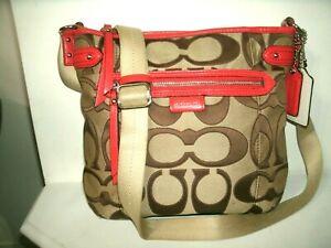 Coach No F24061 Pretty Signature Orange Coral Brown Tan Canvas Crossbody Bag EUC