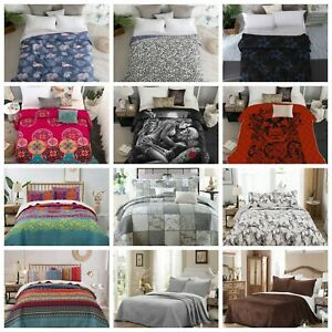 3PCs Quilted Bedspread Bed Throw Warm Comforter Bedding Set Double King Sizes