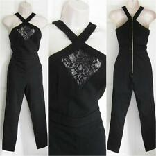 BEBE BLACK TIANNA LACE INSET HALTER JUMPSUIT CATSUIT NWT NEW XSMALL XS