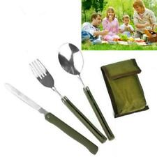 Portable Army Green Folding Cutlery Set with Pouch Cooking Survival Camping JJ
