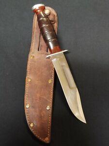 WWII US KA-BAR FIGHTING UTILITY KNIFE & LEATHER SHEATH
