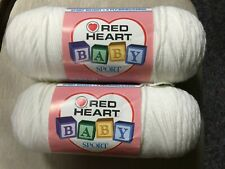 Red Heart Soft White Baby Sport Yarn 2 Full 7oz Skeins 3 Ply Sport Weight