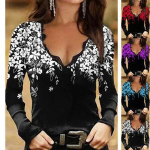 Sexy Women Loose Long Sleeve V Neck Ladies Blouse LaceT-Shirt Size 6-22 E9152
