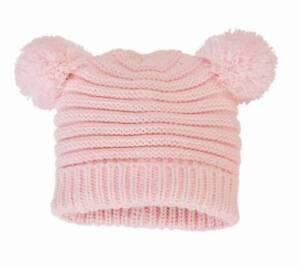 Mud Pie Bundle Me Up Pink Pom-Pom Knit Hat  6-18 Months
