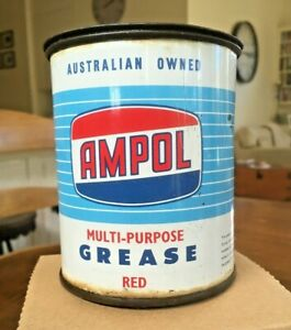 Vintage AMPOL 1lb GREASE CAN in Very Good Condition