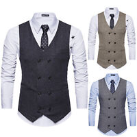 Mens Slim Fit Suit Vest Tweed Double Breasted Waistcoat Formal Dress Coat Jacket