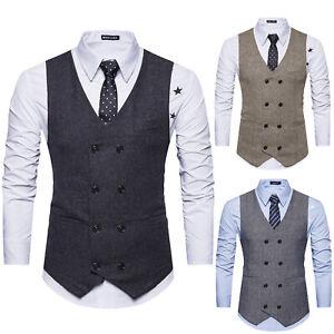 Men Double Breasted Herringbone Tweed Peaky Blinders Formal Tops Waistcoat Vest