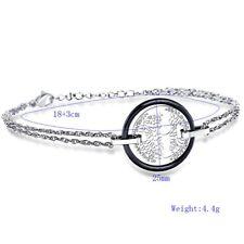 cm ( 7 in) plus 1 in ext Stainless Steel Black Ceramic tree of life bracelet 18