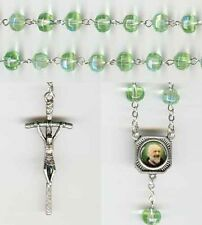 Padre Pio Chartreuse Crystal Rosary