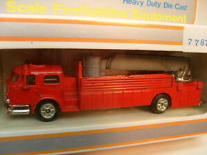 MADE IN HK MODEL POWER HO AERIAL TOWER LADDER/BUCKET FIRE TRUCK WITH RED CAB MIB