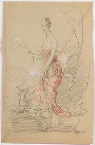 """Walking Lady"", by Adolf Pirsch (1858-1929), Drawing, Early 20th Century"
