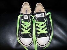 Converse Black All Star Low Shoes W/ Green Laces Size 2 EUC FREE USA SHIPPING