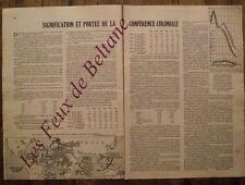 Article Signification de la conference coloniale,statistiques,1934,clipping