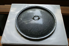 Old Vintage Kitchen Kitchenware Granitware Grey Gray Cooking Pan Pot Lid Cover