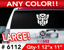 """TRANSFORMERS AUTOBOT LARGE DECAL STICKER 12""""w x11  Any 1 Color"""