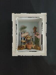 Teddy Bear In Garden Distressed Shadow Rustic Decor Box wall Hanging very cute.