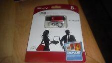 PNY RED Attache Micro Slide 8 GB USB Flash Drive  BRAND NEW & SEALED